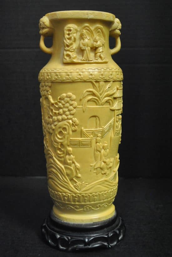 Asian Carved Vase With Pedestal 115h