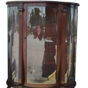 "Antique American Empire Bow Front Mahogany China, Curio Cabinet 61""H"
