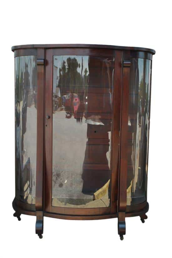 Antique American Empire Bow Front Mahogany China, Curio Cabinet 61