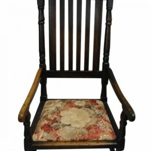 "Antique Solid Oak Old English Slat Back Armchair 43""H"