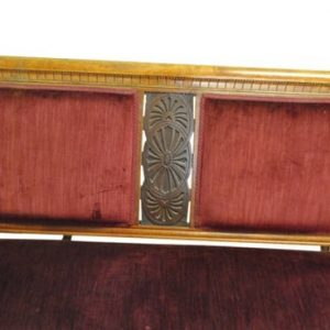 "Beautiful Antique Burgundy Velvet  Settee Solid Wood 54"" W Ca 1890"
