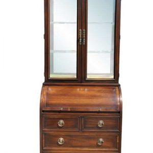 "Spectacular Cylinder Mahogany Hekman Bookcase Secretary  78""H"