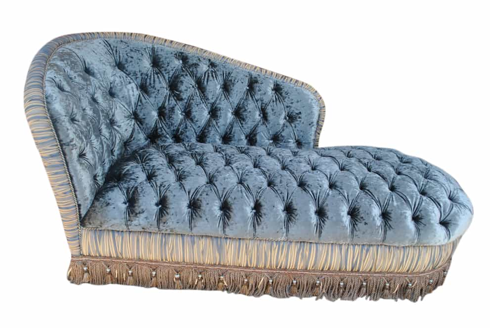 Most luxurious chaise ever tufted silk velvet 84 w for Button tufted velvet chaise settee green