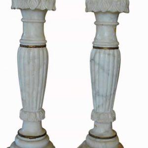 """Pair of Antique Romanesque Italian Marble Column Pedestals 35""""H"""