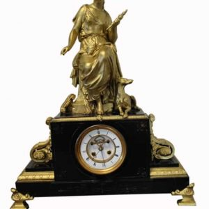 "Large Antique French Bronze Mantle Clock 24""H"