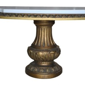 "Fabulous French Gilt Pedestal Bath Tub Console Table, Marble Top 36""W"