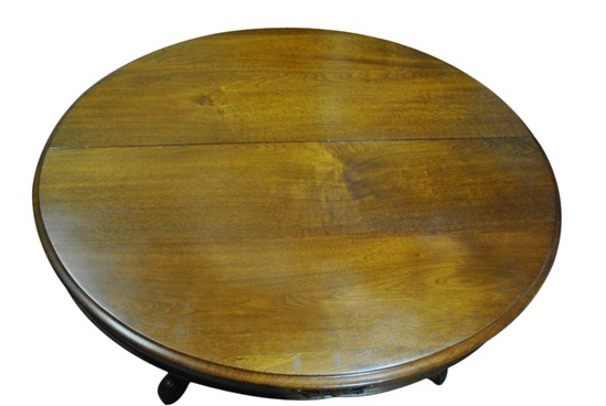 Antique round pedestal dining table 63 diam for 10 foot round table