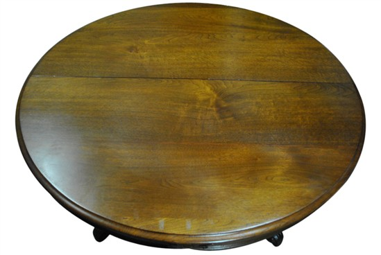 "Antique Rococo Round Walnut Dining Table 63""Diam to 10 ft Long Oval"