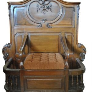 """Rare Antique French Rococo Entry Bench  55"""" H, Carved Walnut"""