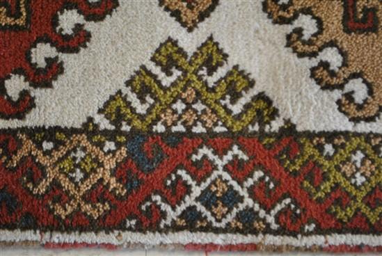 Indo Kazak Runner, Brown Red, Cream, Hand Knotted 10' x 3'
