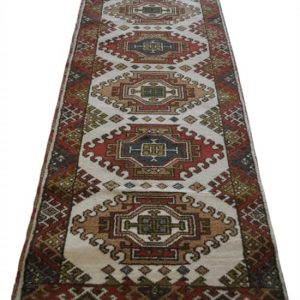 Indo Kazak Runner, Brown Red, Cream, Hand Knotted 10' x 3'