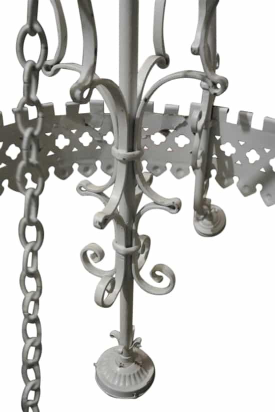 "Huge Antique Gothic Revival Style 5 Light Chandelier, Iron, Metal, White, 44"" X 44"""