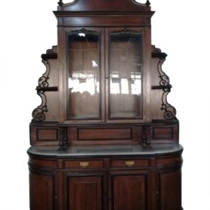 Antique Victorian Cupboard, Cabinet, Buffet, Walnut, Marble Ca 1870