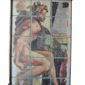 "Euro Nude Lady Indoor Wall Fountain, Painted Tile, Copper 62""H"