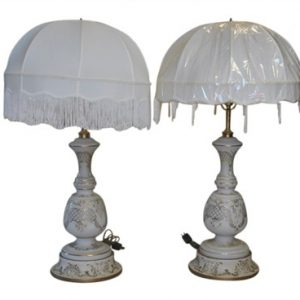 "2 Antique Hand Painted Soft White Glass Lamps 36""H"