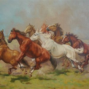 Horses, An Original Oil on Canvas, Signed, 25 X 29