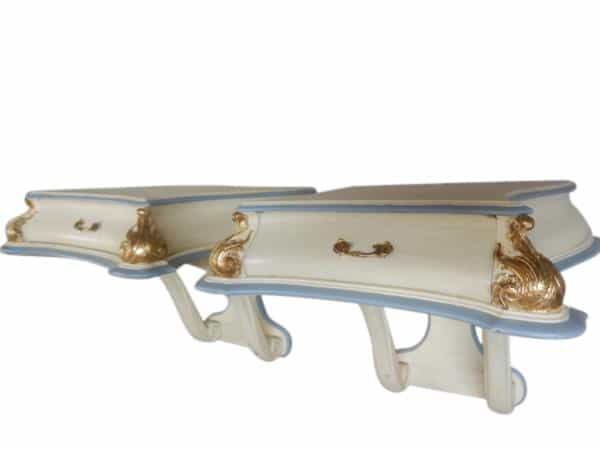 Antique Rococo Gold Gilt Floating Side Tables Beige Lt Blue - Rococo side table