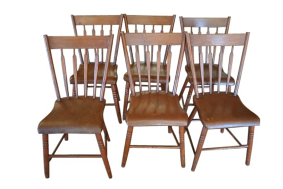 Set Of 6 Plank Dining Chairs, Set Of Antique Dining Chairs, Set Of Antique  Plank Dining Chairs, Set Of Antique Spindle Back Dining Chairs, Set Of  Solid Wood ...