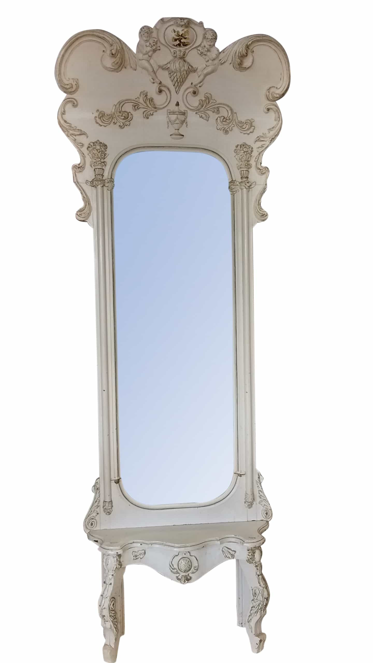 Antique Rococo Pier Mirror Beveled Mirror Painted Wood