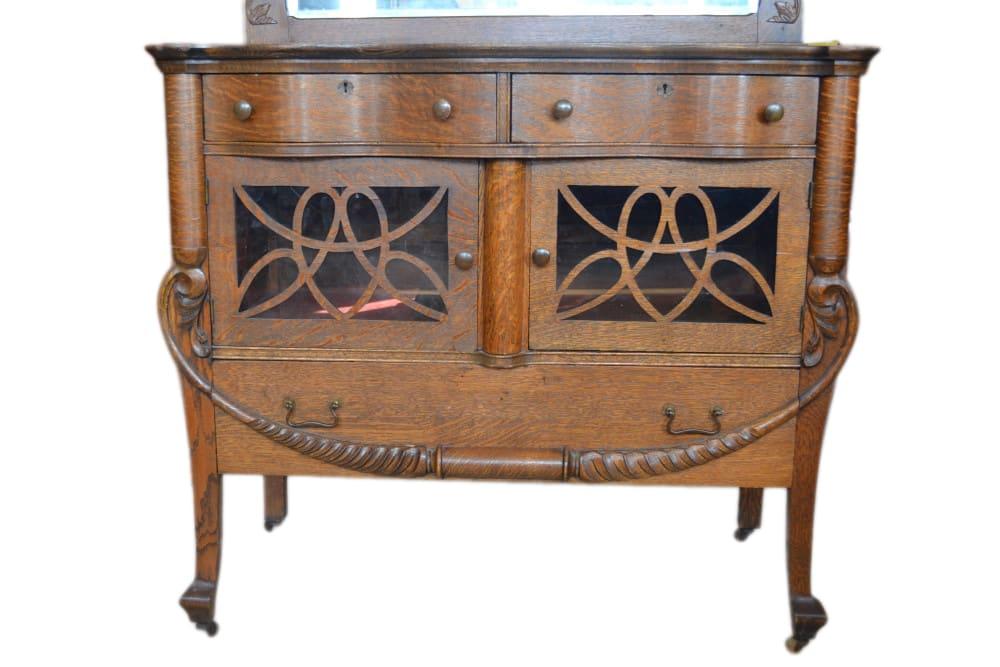 antique petite golden oak era tiger oak sideboard mirror circa 1900 59 h pa4818 aardvark. Black Bedroom Furniture Sets. Home Design Ideas