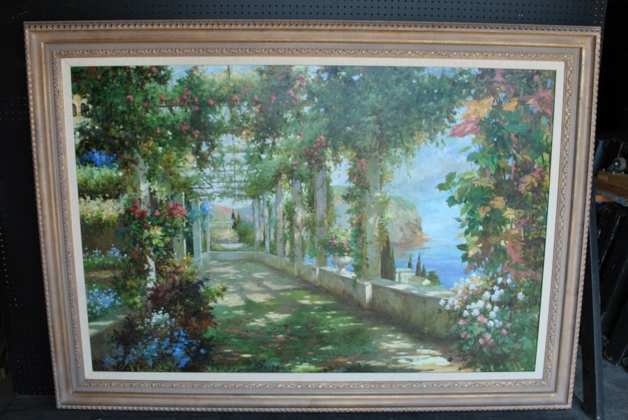 Large Oil Painting, Garden Scene, Floral, 60 x 84, Framed, PA 4964 ...