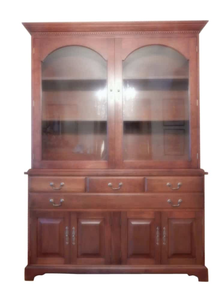 Vintage Solid Cherry Breakfront China Cabinet, PA4685 - Aardvark Antiques - Vintage Solid Cherry Breakfront China Cabinet, PA4685 - Aardvark