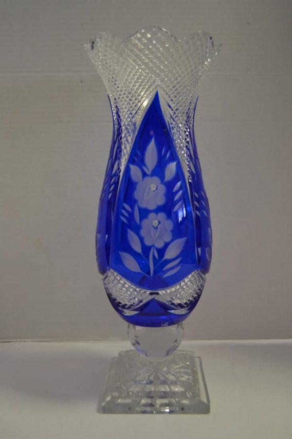 Beautiful Vintage Rena Cut Glass Vase Cobalt Blue 15h Pa5014