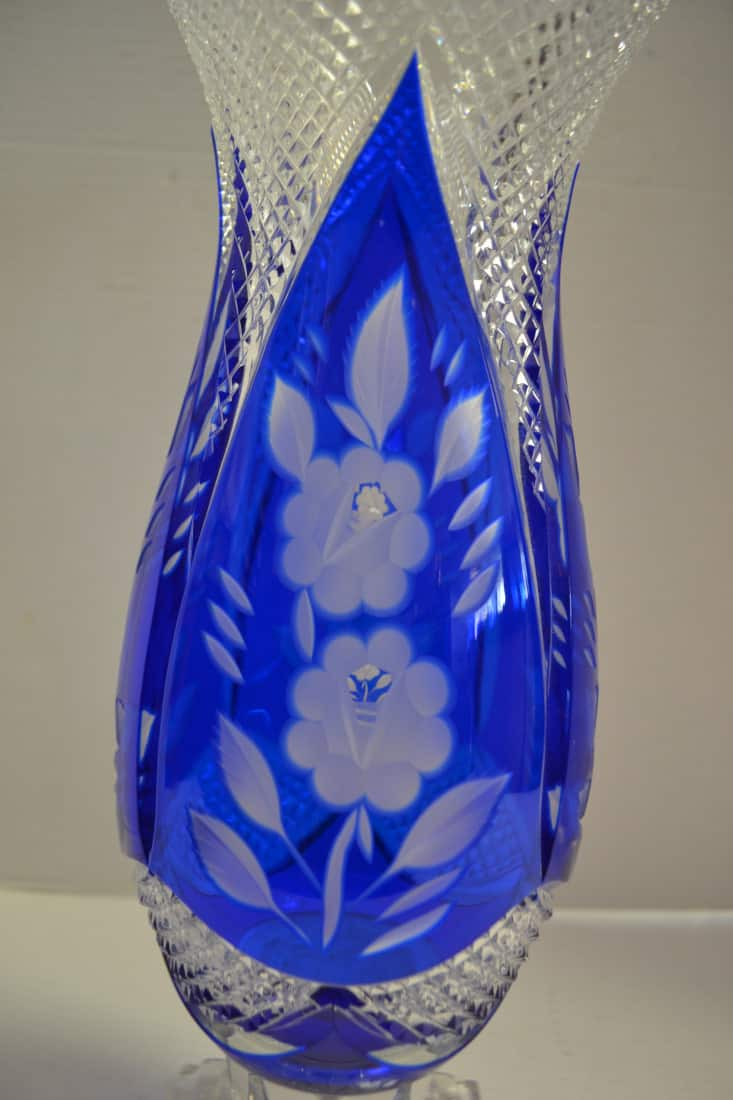 cut to fans vintage cobalt glass vase art blue ebay clear lead pin crystal stars bohemian