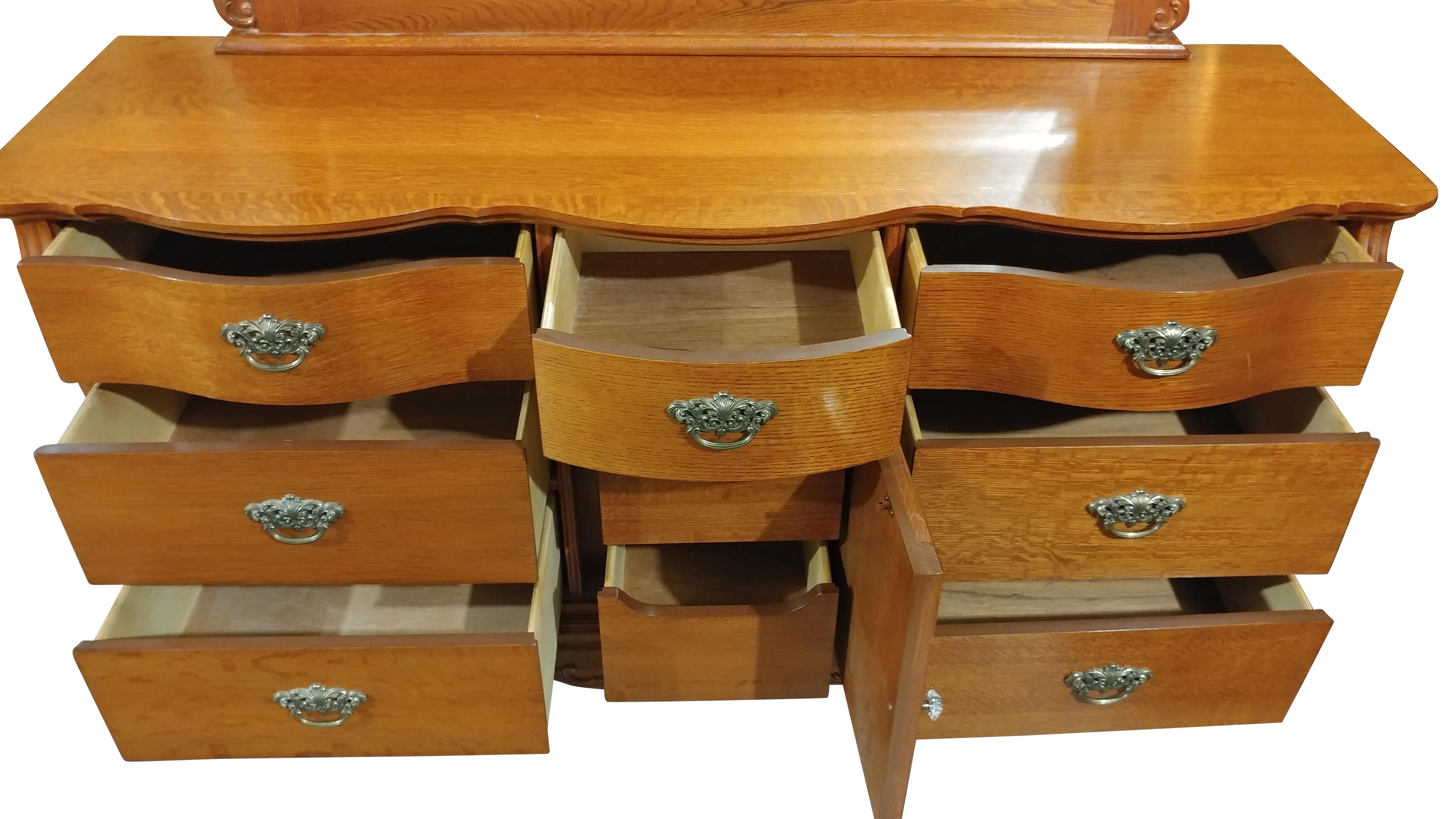 Lexington Furniture Triple Dresser W Mirror Oak Victorian Sampler Collection 64w Pa5069tj on Lexington Victorian Sampler Collection