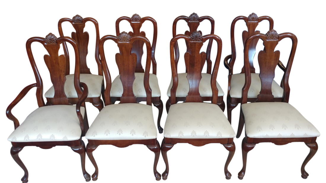 Set Of 8 American Drew Queen Anne Fan Back Dining Chairs Cherry Grove  Collection, PA5088DW   Aardvark Antiques
