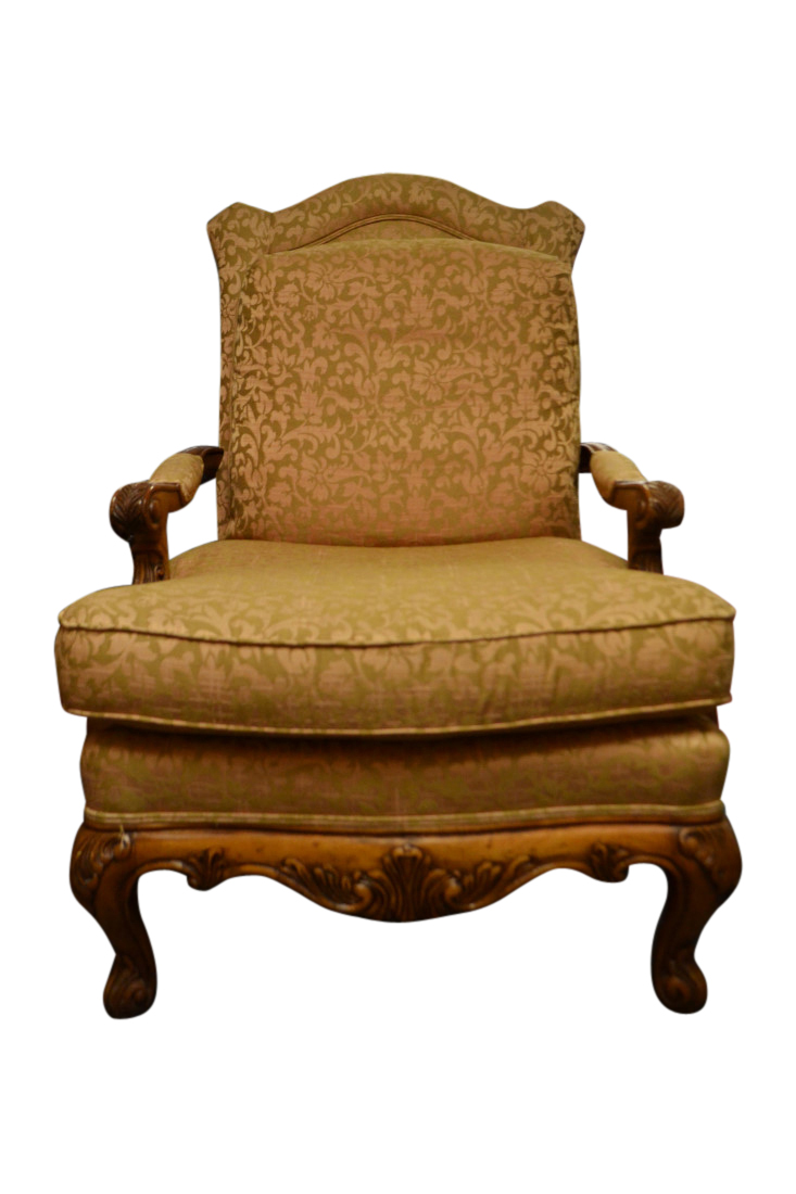French Provincial Chair >> Henredon Upholstered Armchair French Provincial Style
