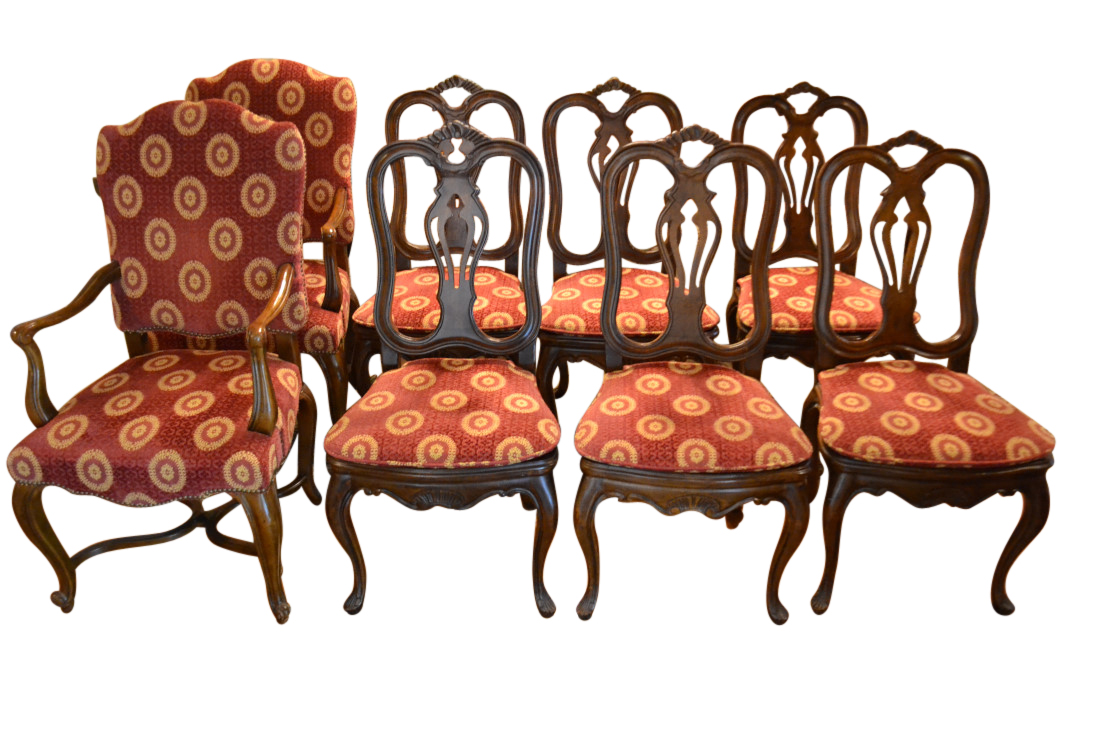Set Of 8 Baker Furniture Dining Chairs, Upholstered, Red U0026 Gold Brocade,  PA5107AD   Aardvark Antiques