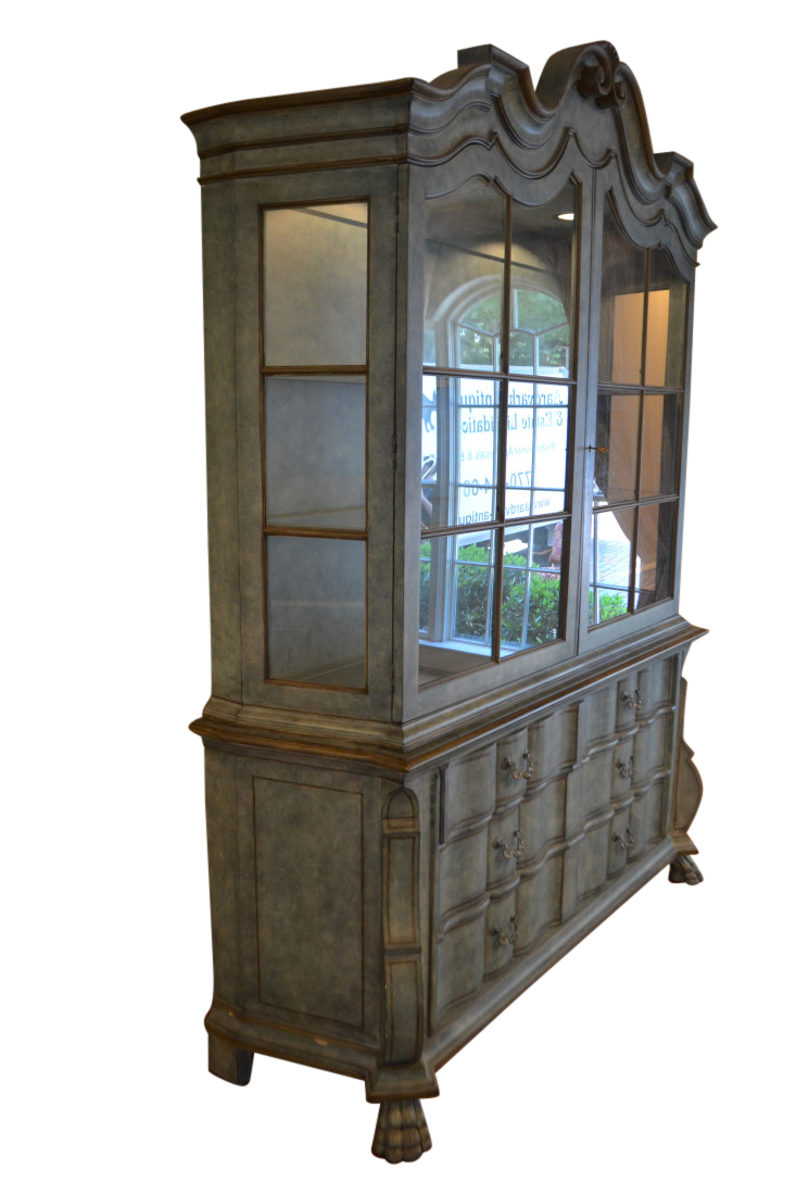 Baker French Provincial Style China Cabinet Lighted