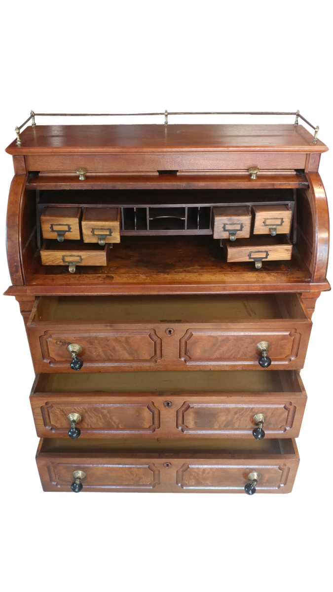 Fine Antique Burl Walnut Cylinder Desk Circa 1890 S
