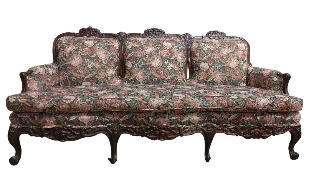 Antique French Louis Xv Style Sofa Fl Mahogany W Pa5171