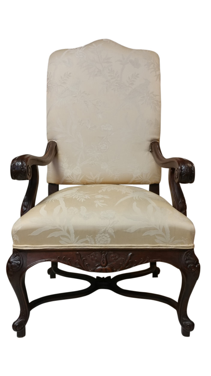 French Provincial Chair >> High Back French Provincial Style Armchair Upholstered Carved 53 H Pa5190
