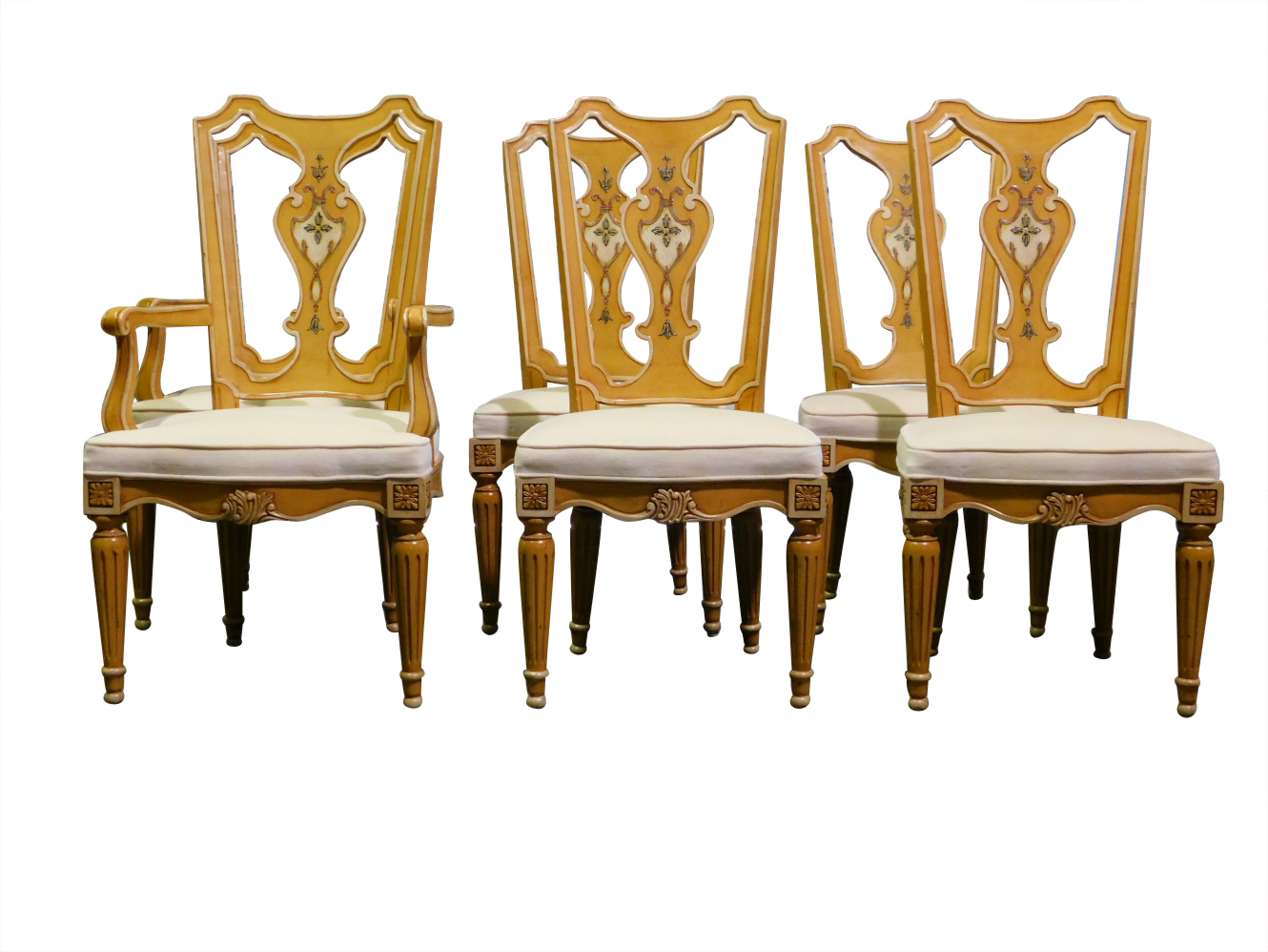 Set Of 6 Henredon Dining Chairs Fiddle Back Muted Gold PA5247DC