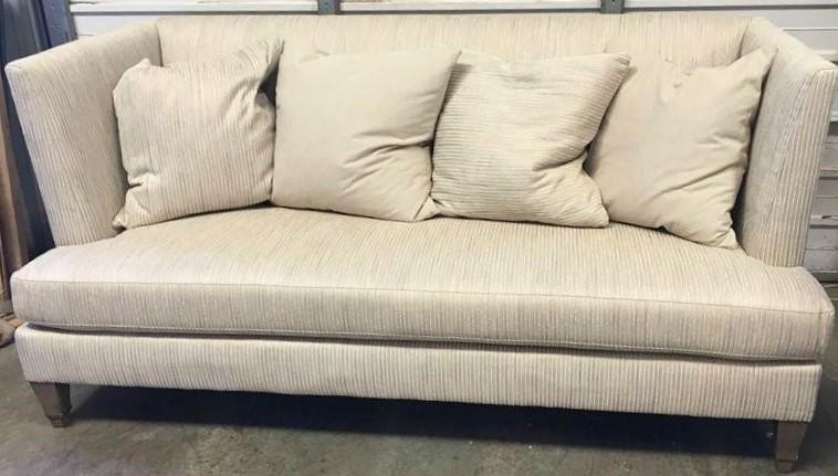 Astounding New Showroom Sample Hickory White Modern Sofa Beige Striped 82W Pa5250 Machost Co Dining Chair Design Ideas Machostcouk