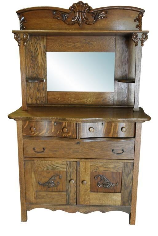 Antique Buffet With Mirror >> Antique Victorian Golden Oak Buffet Mirror 71 H Circa 1890 Pa5306