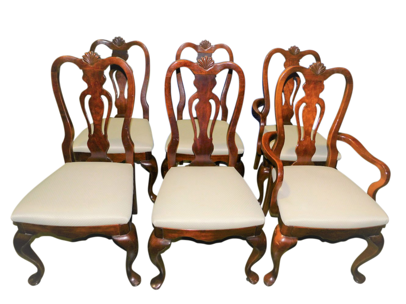 Set Of 6 Queen Anne Style Fiddle Back Dining Chairs PA5309EB